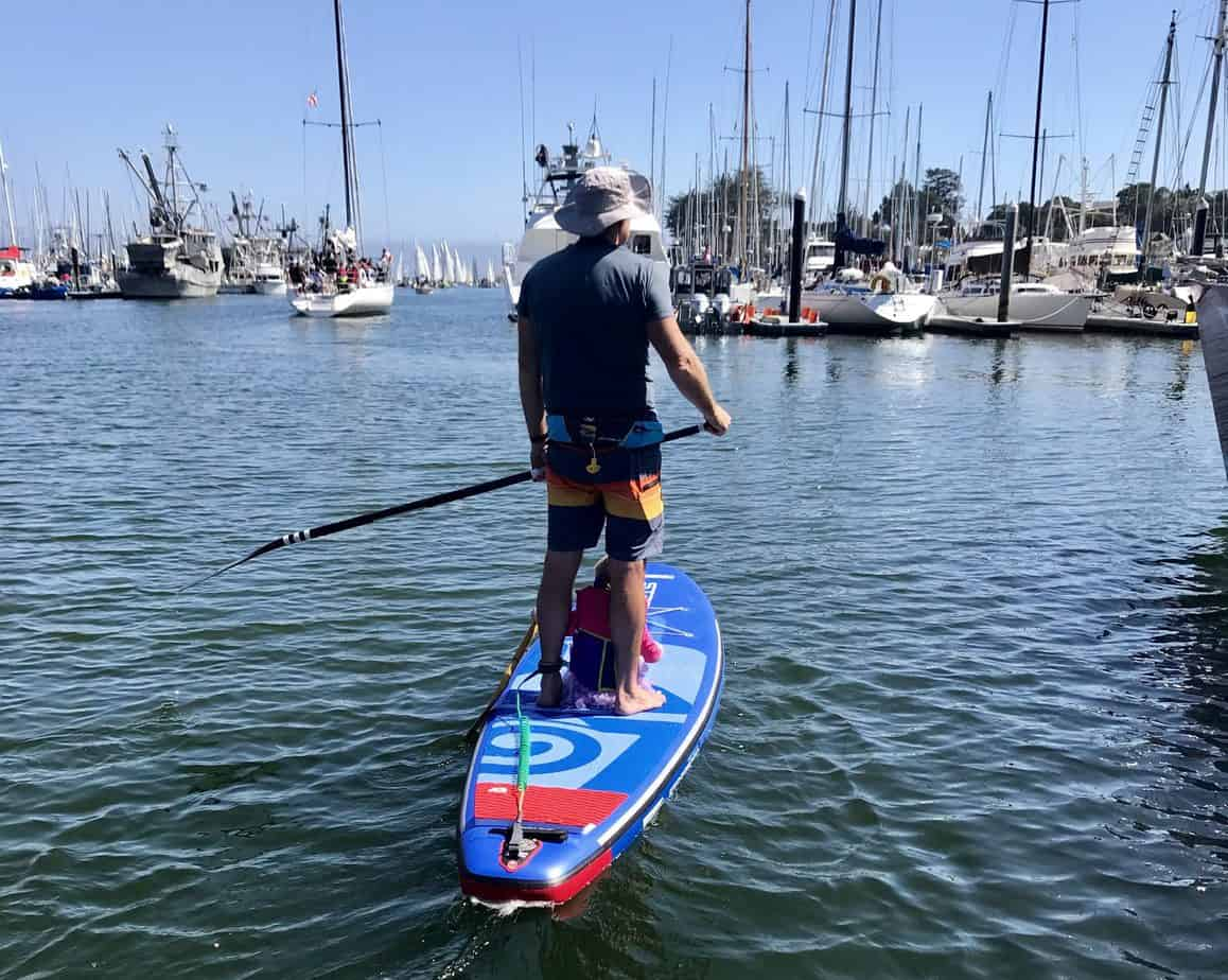 SUP guide with daughter on inflatable paddle board in Santa Cruz harbor