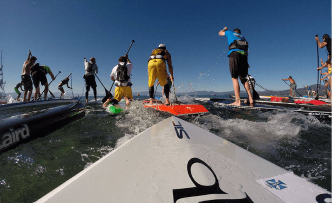 Stand up paddle racers picture taken from board mounted camera